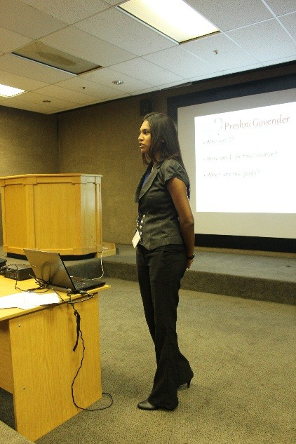 Preshni Govendar during her presentation on Time Management at ADT.